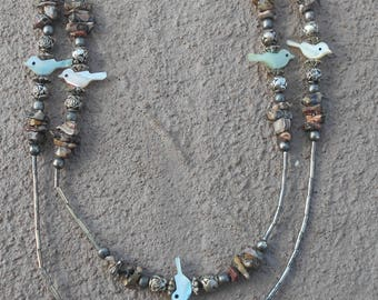 Necklace - Mother of Pearl Carved Birds