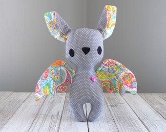 Bat stuffed animal, bat plushie, stuffed toy bat in grey, kawaii bat toy, unique stuffed animal, bat collector gift