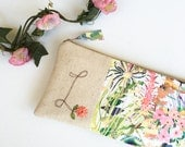 Mother of the Bride Gift from Daughter, Monogram Clutch, Floral Initial Purse, Mom Gift, Wedding Accessory
