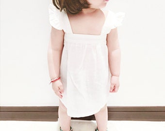 BLACK FRIDAY SALE White Cotton Girl Dress Toddler Baby Flutter Sleeves Romantic Ballerina Frock Infant Cute Bridal Cutout Dress Cyber Monday