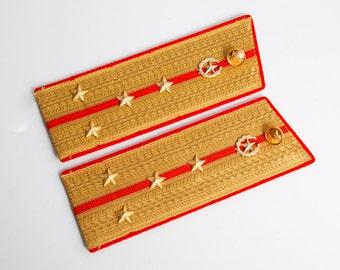 Vintage Soviet Army officer uniform shoulder boards, shoulder strap, captain  internal troops VV.