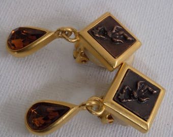 Vintage earrings, angels and stars, catch a falling star,dangle earrings,clip-on earrings,drop earrings,amber crystal clips