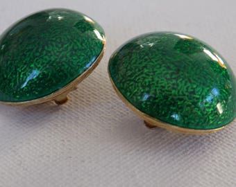 Vintage earrings, signed Ciner domed green enamel runway haute couture clip-on earrings, collectible retro 1950's jewelry