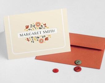 Personalized Note Cards, Women's Stationery, Custom Folded Notecards // GARDEN GRACE