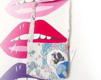 Snow White Cute disney princess upcycled cross body strap tote bag vintage style