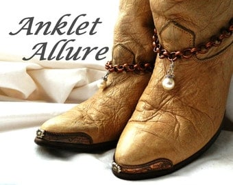 Pearl Boot Chains Copper Boot Jewelry BoHo Boot Bracelets Pearl Foot Jewerly