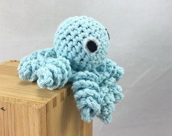 Octopus baby rattle, crocheted octopus, blue octopus