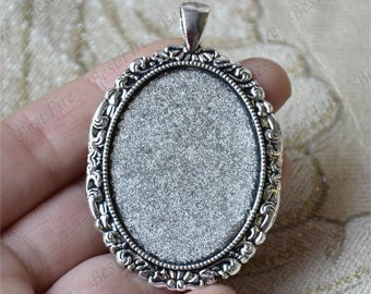 5pcs Antique silver flower oval Cabochon pendant tray (Cabochon size 30x40mm),bezel charm findings,lacework findings,cabochon blank finding