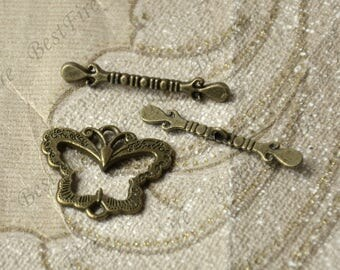 6 sets Antique bronze butterfly toggle Clasp, Toggle Clasp findings,Necklace Clasp,Bracelet Clasp,Clasp Charms,Clasp Findings