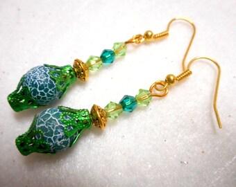 Green Earrings, Gemstone Earring, St. Patrick's Day Earrings, Green Jewelry, St. Patrick's Day Jewelry, Gold Earring, Gold Jewelry, Green