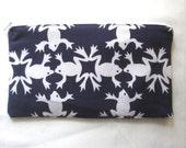 Fancy Frogs Fabric Zipper Pouch / Pencil Case / Make Up Bag / Gadget Sack