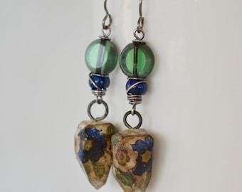 Green and Blue Earrings,  Art Bead Earrings, Flower Ceramic Earrings,  Chunky Nugget Earrings, Primitive Oxidized Sterling Silver Earrings