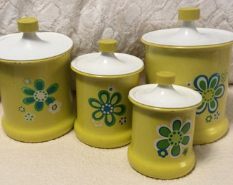Vintage GROOVY FUNKY Tin Canister Set Yellow White Flower Power Kromex Mid Century