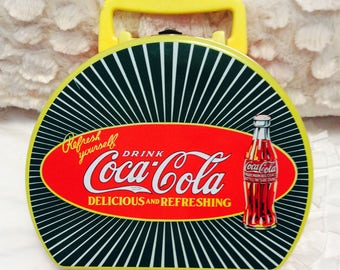 Vintage Coke Tin Lunchbox Box Red Green Americana Advertising