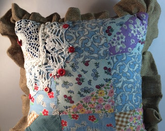 Farmhouse Quilt Pillow made from 1930s Quilt Top and Burlap with Hand Crochet and Vintage Buttons Reversible Pillow Primitive Pillow