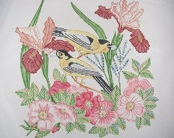 Birds And Flowers Needlepoint Canvas*