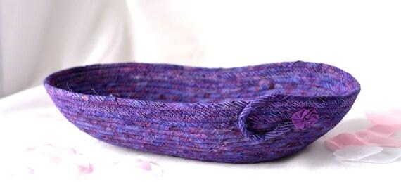 Purple Gift Basket, Violet Remote Control Holder, Handmade Violet Picnic Basket, Lovely Decorative Bowl, Soft Fabric Pottery
