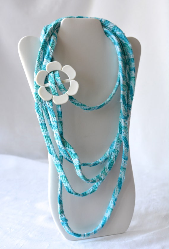 Cute Summer Necklace, Aqua Infinity Necklace, TQ120 Handmade Wrap Fiber Jewelry, Turquoise Skinny Multi Strand Necklace