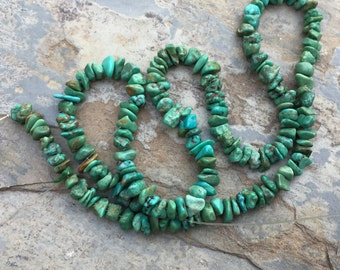 Turquoise Chip Beads, Small Turquoise Nuggets, 3 to 4.5 mm, 16.5 inch strand
