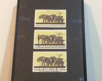 "Elephant - Recycled Postage Stamp Framed Art 4""x6"", 4x6, African Elephant, safari, elephant art, elephant gift, elephant stamps"
