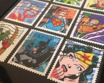 """Marvel - Recycled Postage Stamp Framed Art 4""""x6"""", 4x6, Wonder woman, superman, flash, DC comic, hulk, batman, hawkman green arrow plasticman"""
