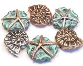 Six 2 Hole Slider Beads Antiqued Silver, Brass, Copper Hand Painted Patina Starfish & Tri-Color Nautilus Sea Shells, Seashore Nautical Beads
