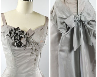 1950s Gray Dress Size Small with Rosettes Beading on Front Corset Bodice Bustle and Bow on Back Size Small