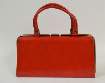 Large Vintage Purse Red Vinyl Top Handle Bag Rectangle Shape Handbag