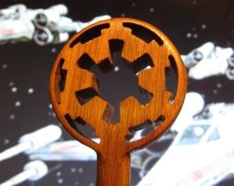 Hair Stick - Galactic Empire Insignia in  Walnut Wood