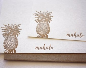 Pineapple Letterpress Thank You Cards Aloha Mahalo Copper Gold