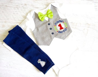 Mr. Onederful Tuxedo Bodysuit Vest with Removable Matching Bow Tie and Matching Leg Warmers
