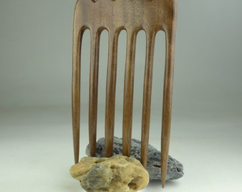 Six Prong Hair Fork Black Walnut Wood - Handmade - 6 Prong Hair Fork