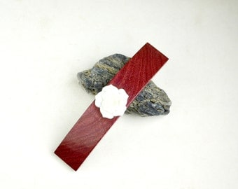 Hair Barrette with White Rose - Purpleheart Wood with clip made in France