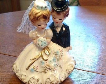 Vintage Josef Original Bride and Groom Figurine Cake Topper