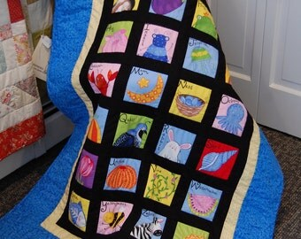 Baby Quilt, Alphabet Quilt, A to Z Picture Quilt, Hand Quilted
