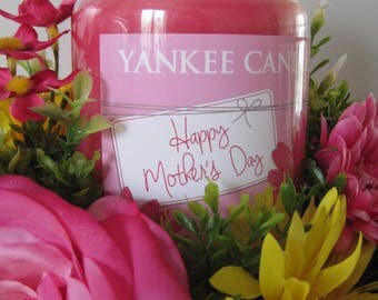 Happy Mother's Day Candle Arrangement, Mothers Day Gift, Yellow, Pink Real Touch Silk Roses, Mums, Yankee Candle Jar, White Wood Container