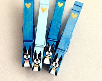 BOSTON TERRIER CLOTHESPINS hand painted magnetic pegs blue and gold