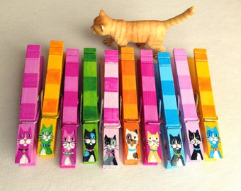 10 CAT CLOTHESPIN magnets party favor hand painted
