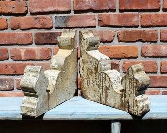 1800's Pair Wooden Corbels - Architectural Salvage - Industrial - Shelf Brackets