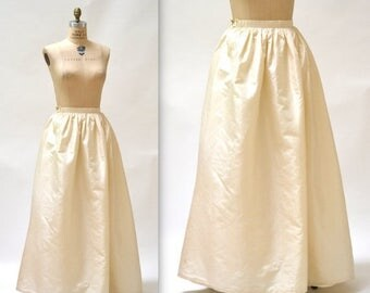 ON SALE Vintage Cream Ball Gown Skirt size Small Silk // Vintage Wedding Skirt Cream White Silk Crinoline Skirt Size Small
