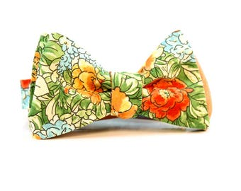 Mens Tie Yourself Bowties // Peach and Green Flowers // Reversible Bowtie // Summer Wedding // Groom // Durian and the Lyon