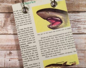 Refillable Notepad - Recycled  Notebook - Handmade Journal - Upcycled Nature Book - Large Notepad - Shark - Animal  Notebook -