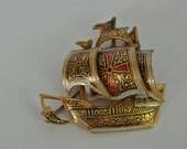 1970s Bronze Ship Brooch Spanish