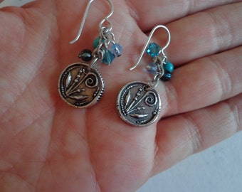 Vintage 925 Sterling Silver Pierced Wire Change of Seasons 2 Sided Sterling Silver and Beaded Dangle Earrings