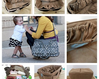Diaper Bag Organizer for LV Neverfull GM 30x17cm / Faux suede light brown / Made to order