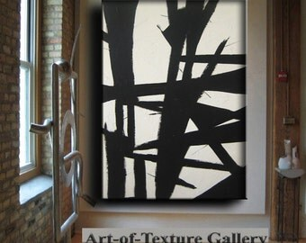 60 x 40 Huge Black White Abstract Painting Custom Original Texture Impasto Minimalist Geometric by Je Hlobik