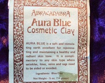 """Blue cosmetic Clay vtg 70s/very rare """"aura blue""""/in package discontinued by abracadabra, Guerneville California defunct biz"""