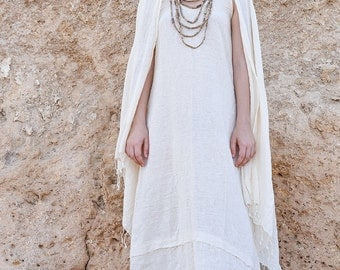 Sleeveless Frayed Dress ~ Cotton
