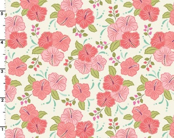 Peach Hibiscus  A192.2 - ISLAND GIRL - Lewis and Irene Fabric - By the Yard