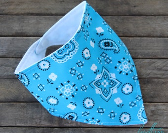 Baby Bib Bibdana Turquoise Bandana Drooling Bib over Black or White Flannel teething bib baby bib